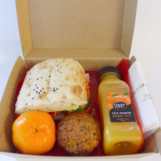 Executive Boxed Lunch 1 (4 items) Large Window Box - Gourmet Turkish, Muffin, Piece of Fruit, 250 ml Juice
