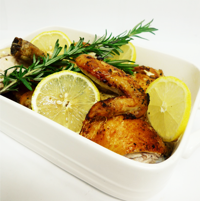 Lemon, garlic, rosemary roasted chicken accompanied with a yoghurt cucumber dipping sauce (g/f)