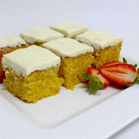 Orange Almond Cake Squares with Vanilla Frosting (g/f)