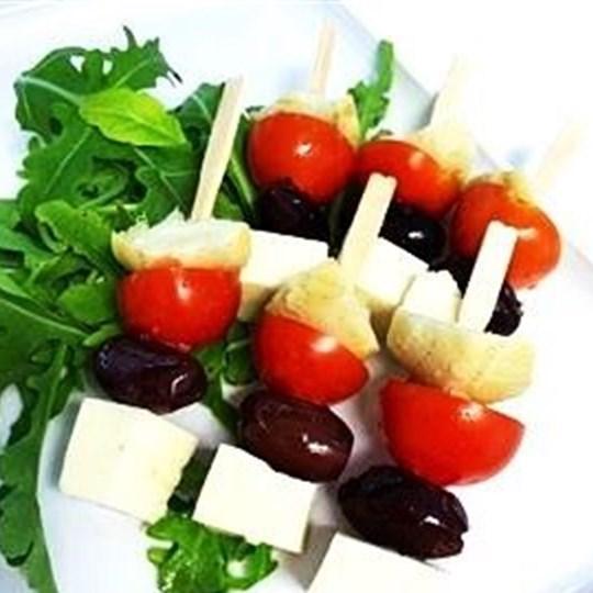 Antipasto pick - artichoke, olive, tomato, feta (g/f, v) (min 10)