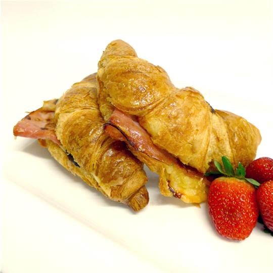 Croissant: Leg ham, house-made tomato relish and tasty cheese (min 6)