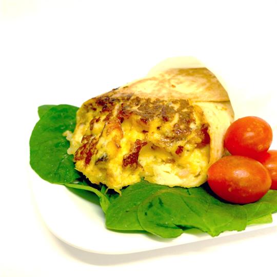 Breakfast Wrap: Scrambled eggs, mushrooms, tomato relish and tasty cheese (v) (min 6)