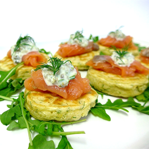 Dill Pancakes with Smoked Salmon and Caper Butter (min 10)