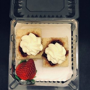 Whole Scone, presented open, with jam & cream, napkin INDIVIDUALLY PACKAGED