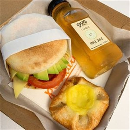 Quick Breakfast Package (3 items) - Boxed  - Savoury Filled  English Muffin or Savoury Filled Croissant, Danish, 250 ml Juice