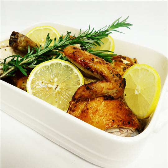 Lemon Garlic Rosemary Chicken Pieces (HOT) with Yoghurt Cucumber Dipping Sauce (g/f) with choice of 2 salads (min 10)