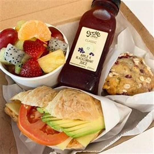 Boxed Breakfast Package (4 items)  - Savoury Breakfast Croissant, Muffin, Fruit salad (250 ml), 250 ml juice