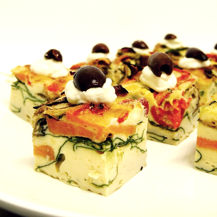 Individual Vegetable Frittata Topped with Olives (g/f, v) (min 10)