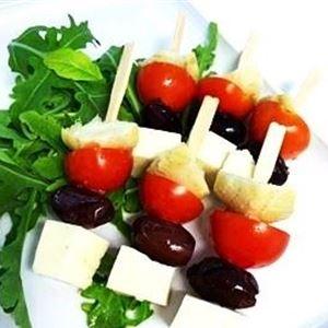 Antipasto picks - artichoke, olive, tomato, feta (g/f, v) (min 10)