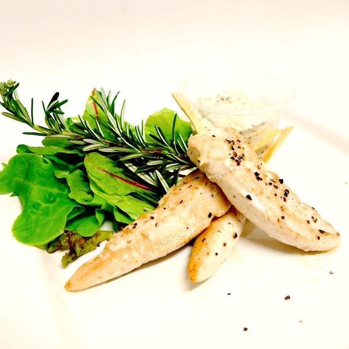 Chicken tenderloin with honey mustard mayonnaise (g/f) (min 10)