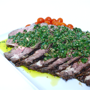 Roasted Fillet of Beef Slices with a Parlsy Caper Dressing (gf) served hot with choice of 2 salads (min 10)
