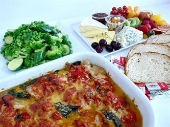 Menu 2 - Chicken Florentine served with steamed greens, sourdough, fruit & cheese (min 12)