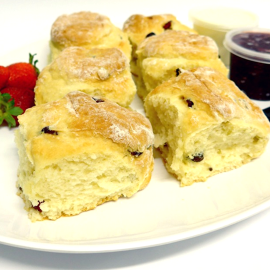 WHOLE Scone Date and Fruit with tubs of house-made jam and cream on PLATTERS (min 6)