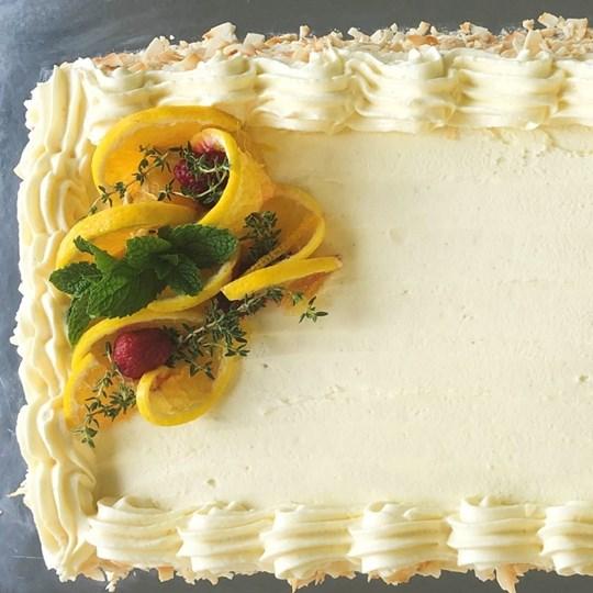 Orange Almond Cake Rectangle with Vanilla Frosting (g/f) (30 cm x 22 cm)