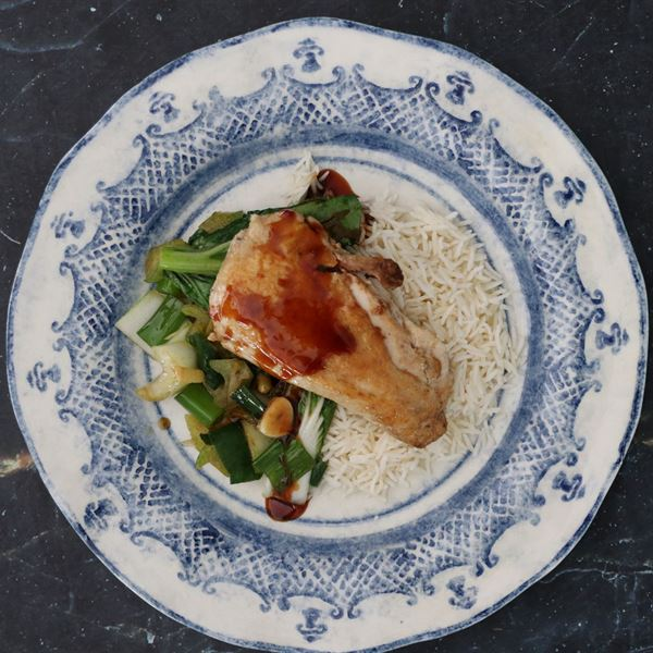 Asian inspired marinated chicken breast with ginger soy served with steamed rice & Asian Greens (EX)