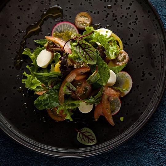 Bocconcini, tomato, mint, radish, herb verdi share bowl (v/gf) (ex)