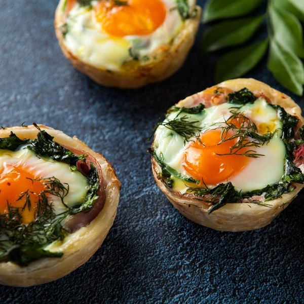 Bacon, egg, spinach & herb tart (ex)