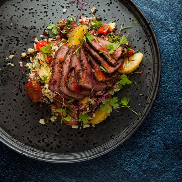 Spiced beef, chorizo, orange cous cous, roast capsicum, parsley, yoghurt share bowl(EX)