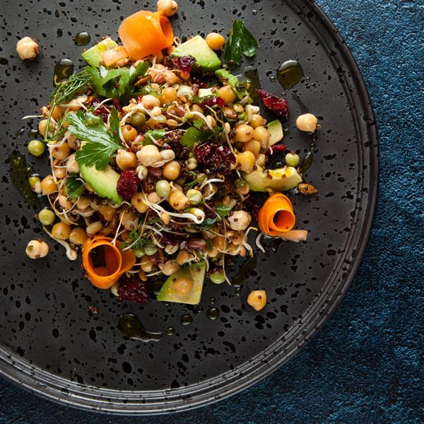 Super grains, avocado, cranberry, pepitas, pickled carrot share bowl (v/gf) (ex)