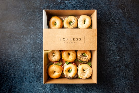 Assorted filled mini bagels - to include 10% veg (ex)
