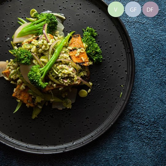 Gourmet brown rice, roasted sweet potato, broccollini, pear salad (v/gf/df) - share bowl (ex)