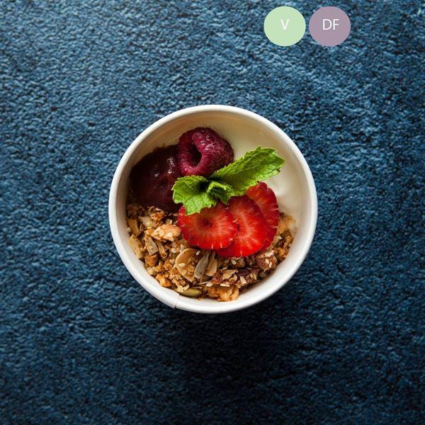 Toasted granola, coconut yoghurt & berry swirl (v/gf/df) (ex)