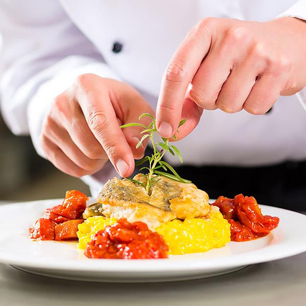 Chef preparing a food dish