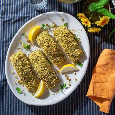 Pistachio-Crusted Salmon Chanukah Dinner