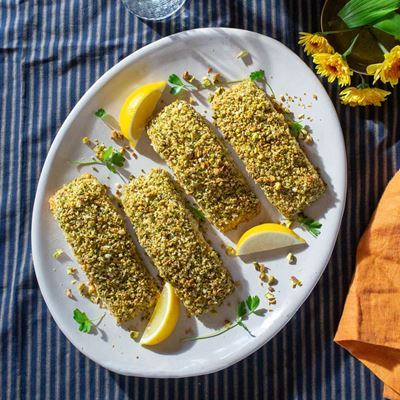 Pistachio-Crusted Salmon Holiday Dinner