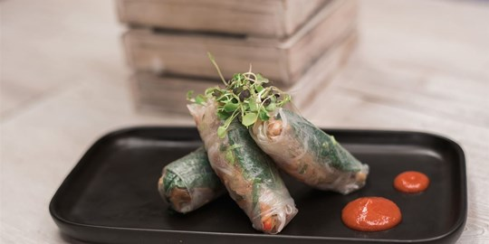 Shitake and water chestnut rice paper rolls with chilli lime dipping sauce (vegan, gf)