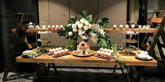 Grazing Station - Dessert - Featuring 2 tier Cake, mini desserts, fruit & cheese all beautifully presented on table