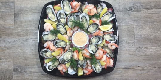 Fresh Coffin Bay Oyster and Prawn Platter