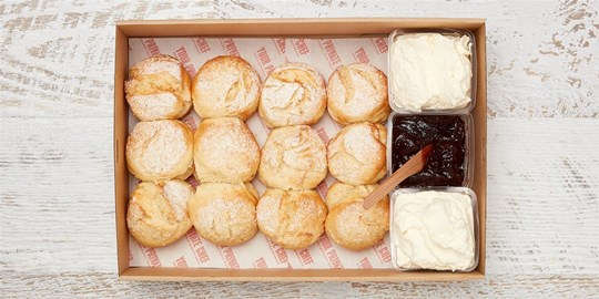 Scone collection –  Traditional lemonade scones served with jam and whipped cream