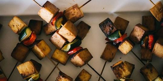 Platter - Teriyaki tofu and vegetable skewers (vegan, gf, df)