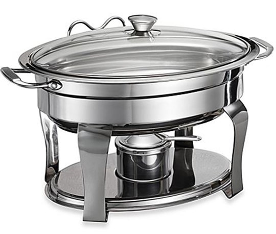 Hire - Small Round Chafing Dish with gel flame candle (suits buffet menu for up to 50 people)