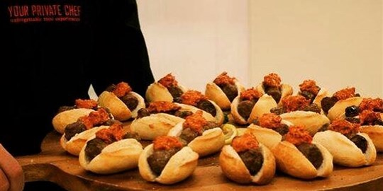 Platter - Croatian Cevapi, grilled skinless sausage in mini brioche oval bun with ajvar relish