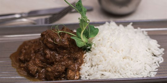 Malaysian beef curry platter
