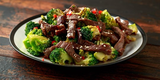 Asian Beef and vegetable stir fry with side of rice (GF)