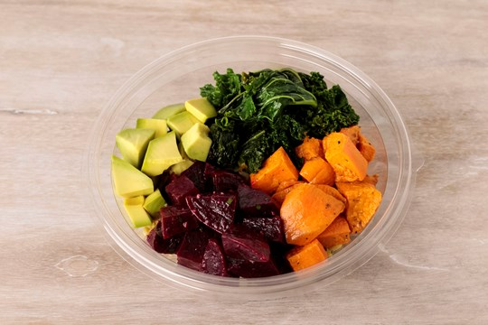 RightRice® and Red Quinoa Bowl with Kale, Beets, Sweet Potatoes & Pickled Avocado