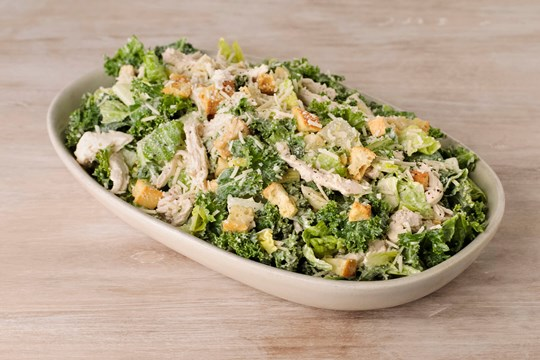 Kale Chicken Caesar Salad with Focaccia Croutons