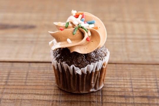 Mini Chocolate Birthday Cupcakes