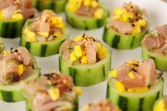 Albacore Tuna Tartare with Mango and Red Onion in Cucumber Cups