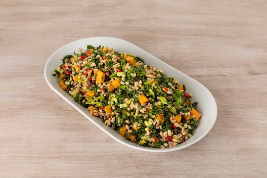 Farro and Winter Squash Salad with Kale & Piquillo Peppers
