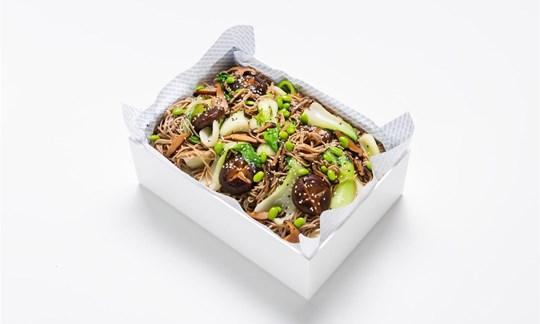 Spicy garlic soba noodle, bok choy, roasted teriyaki mushroom (V)
