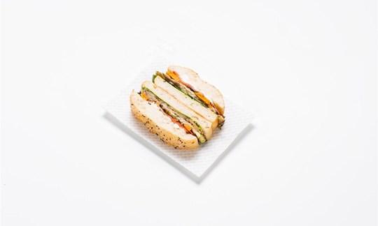 Turkish sandwich - Grilled mediterranean veg, spinach, feta, hummus (V)