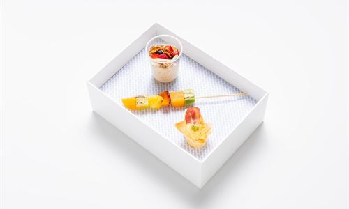 Bento - Breakfast box , bacon and egg filo tart , fruit skewer and bircher muesli