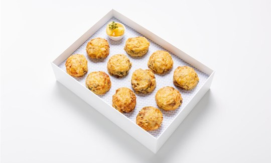 Four cheese, caramelized onion and chive scones w/ butter
