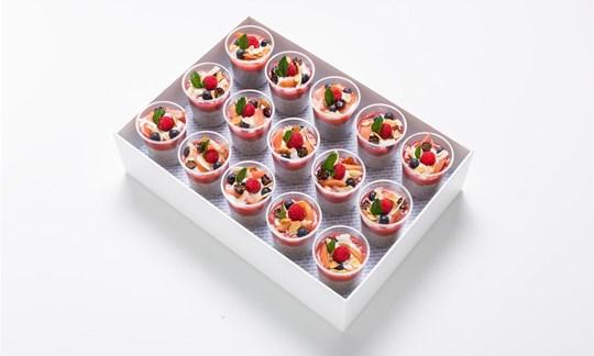 Roasted rhubarb chia pot, seasonal berries and coconut yoghurt