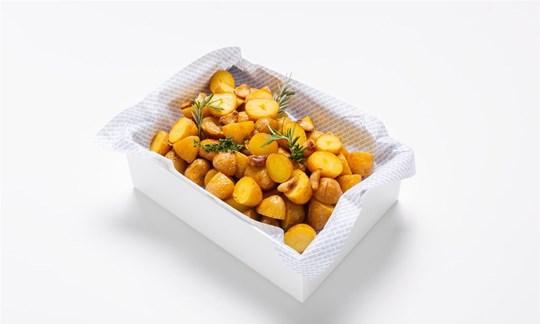 Twice cooked baby gourmet potatoes, confit garlic, flaked sea salt