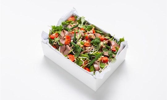 Thai beef, mixed greens, tomato, mung bean, chili, toasted peanut (GF)